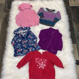 2/$25 Baby Girl Bundle of Sweater & Tops. 9 Pieces
